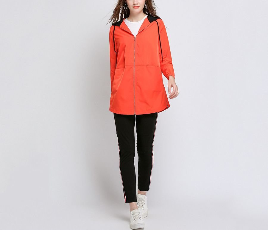 Zip Front Coat with Contrast Lined Hood
