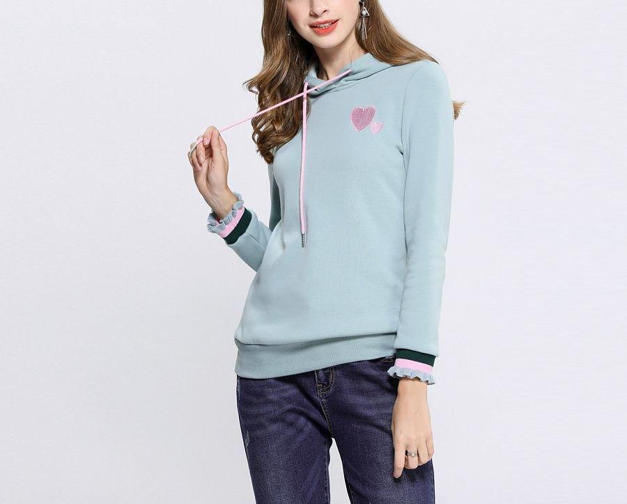 Velvet-Like Knit Hoodie Top