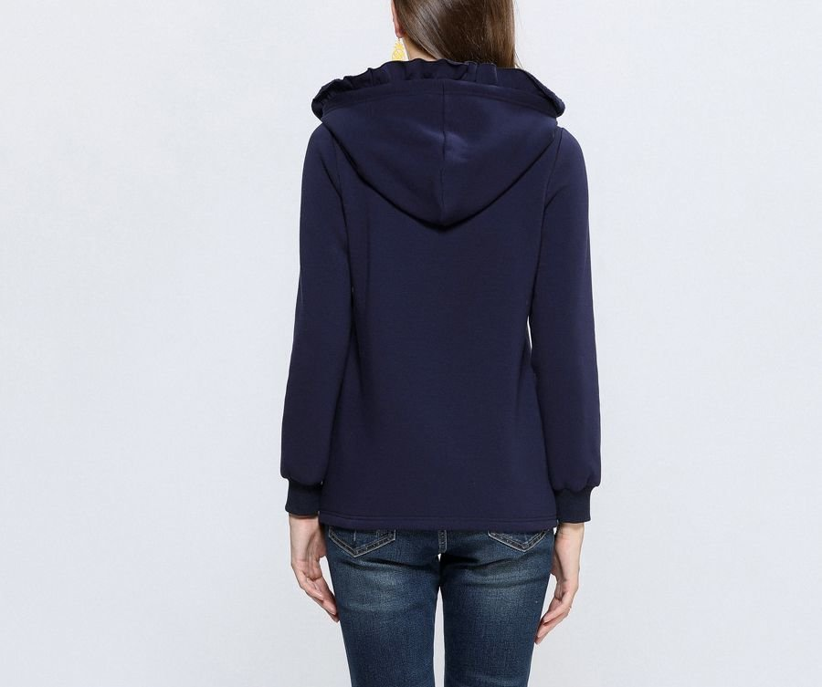 Knit Top with Ruffled Hood