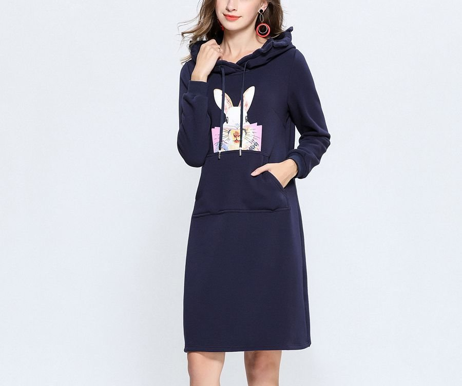 Casual Dress in Velvet Knit Fabric with Ruffled Hood