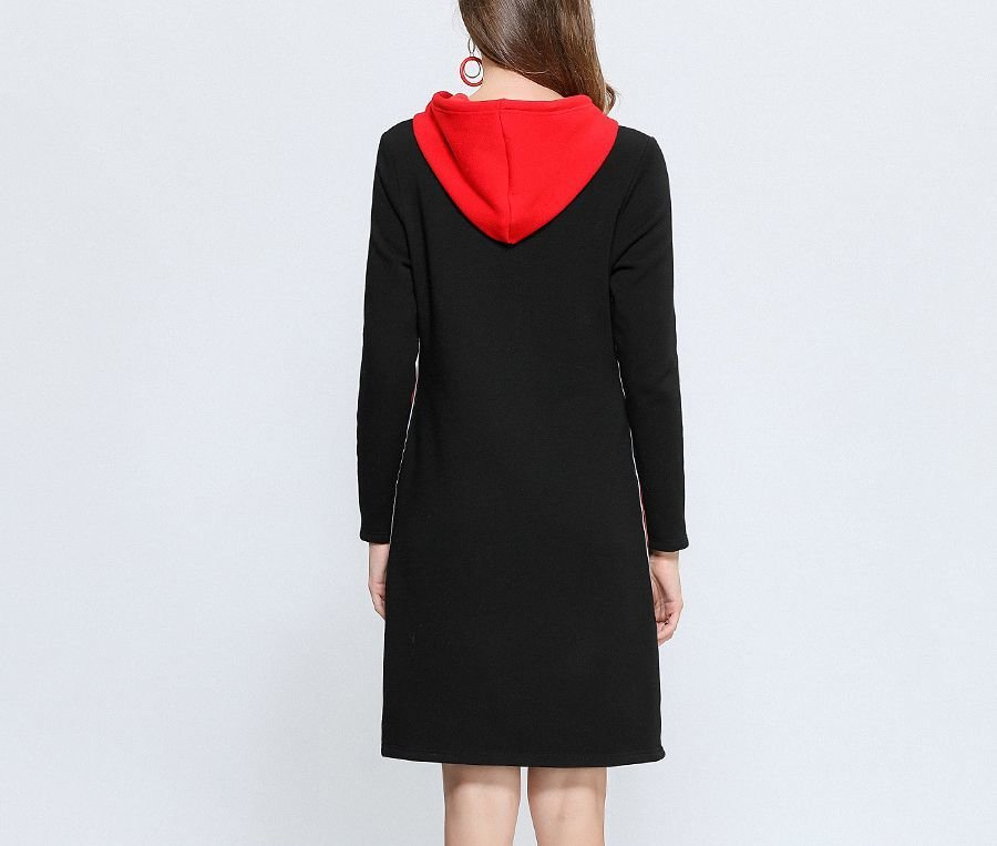 Velvety Hoodie-Style Casual Dress with Screen Print