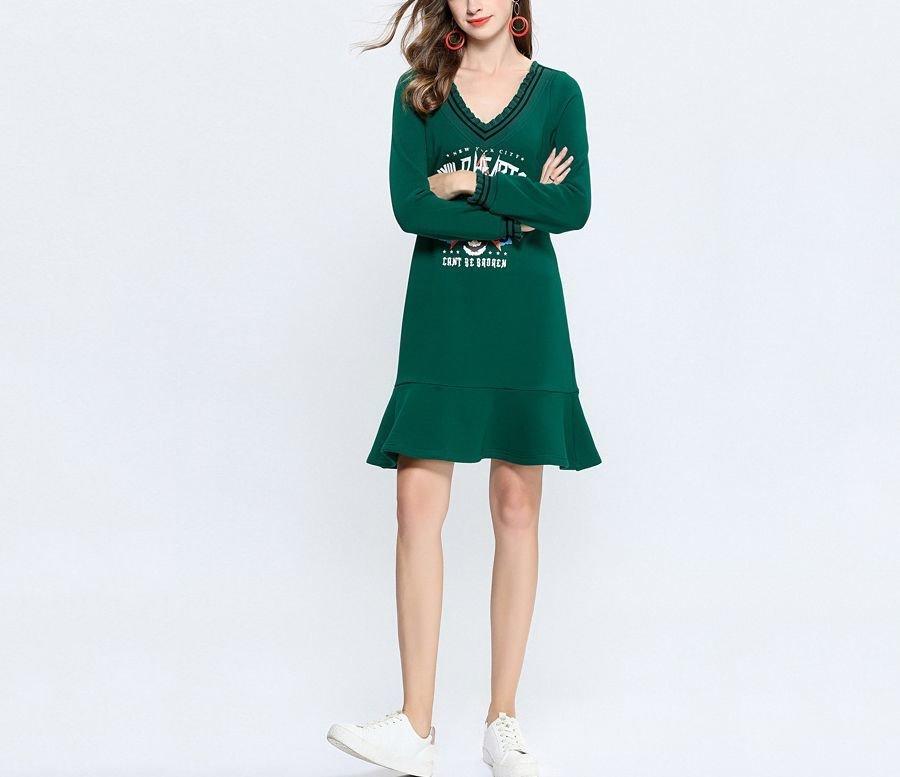 V-Neck Dress with Ruffles in Velvet Knit Fabric