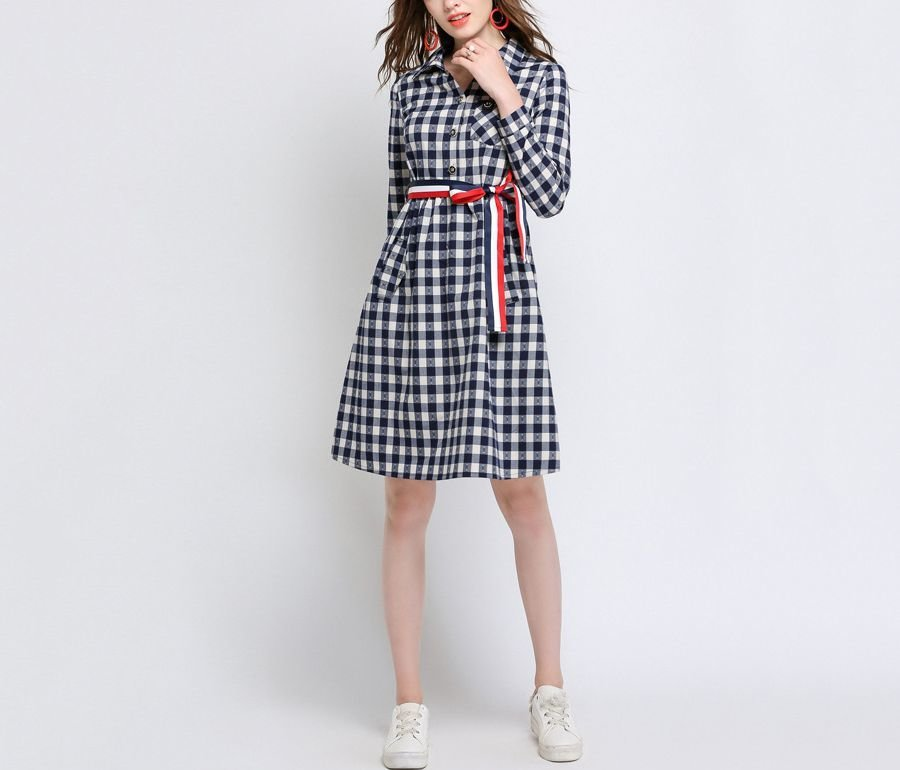 Gingham Check Casual Dress with Shirt Styling