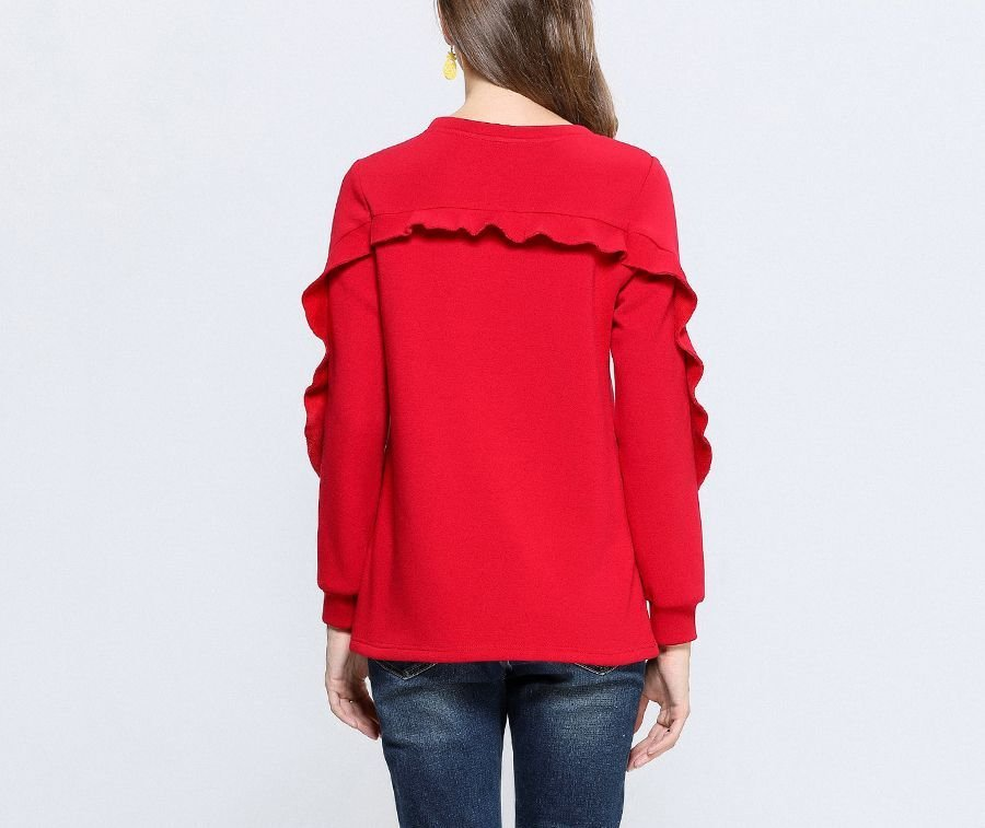 Velvet Knit Top with Ruffle Trim