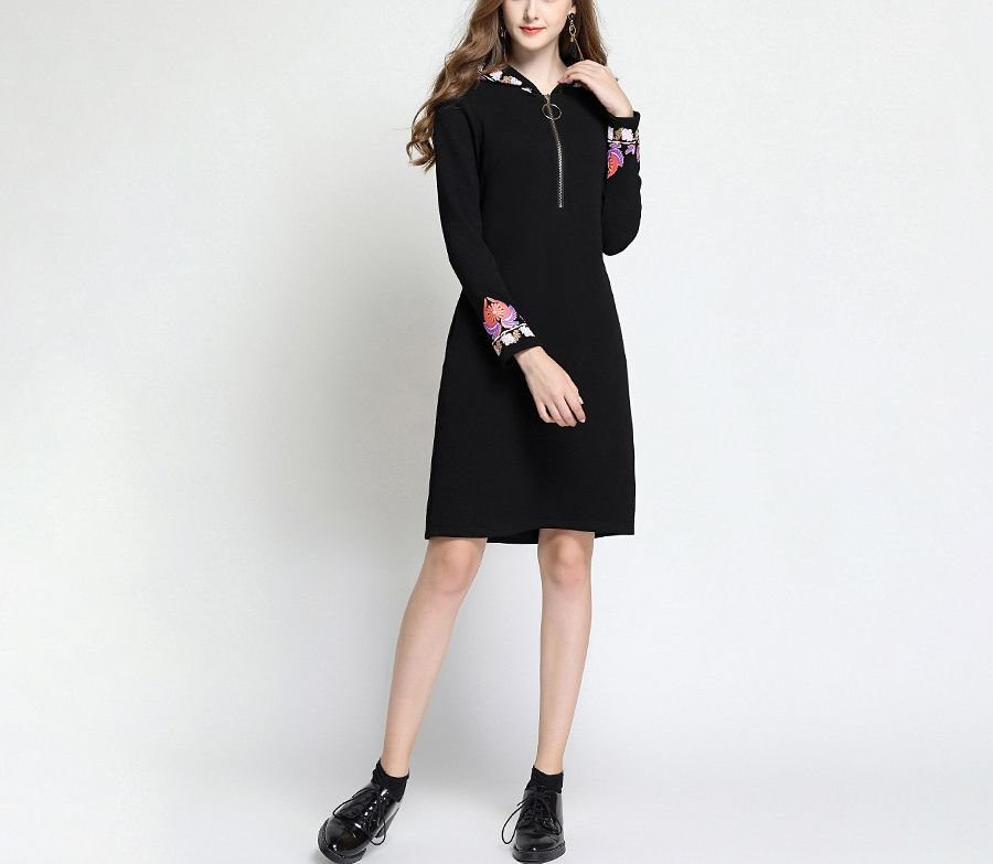 Zip Front Casual Dress with Floral Print