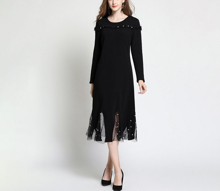 Cocktail Dress in Tea Length with Sheer Godets