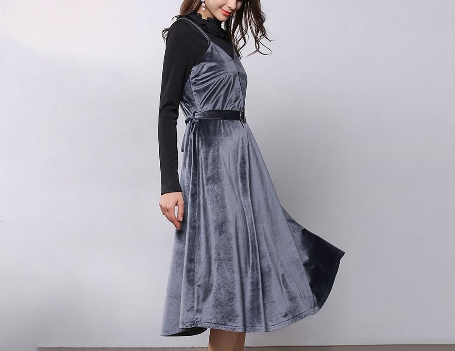 Jazzing Velvet Cocktail Dress with Belt