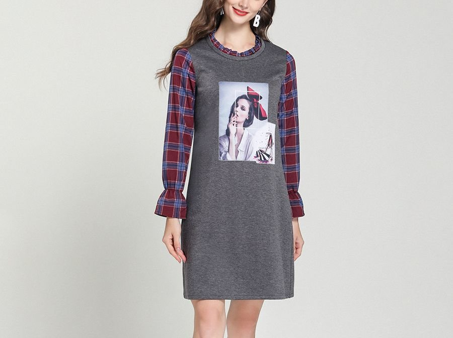Knit Warm Casual Dress with Woven Plaid Accents