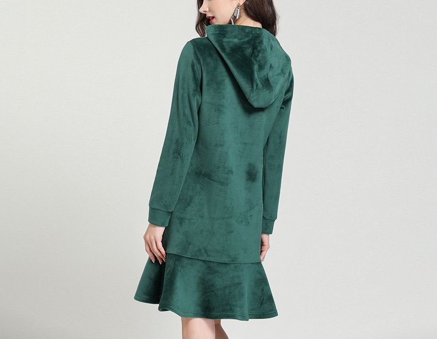Velvet Casual Dress with Hoodie Style