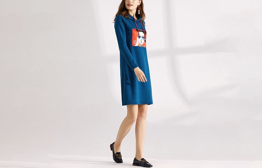 A-Line Casual Dress with Screen Print and Hood