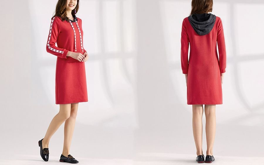 A-Line Casual Dress with Ribbon Trim and Contrasting Hood