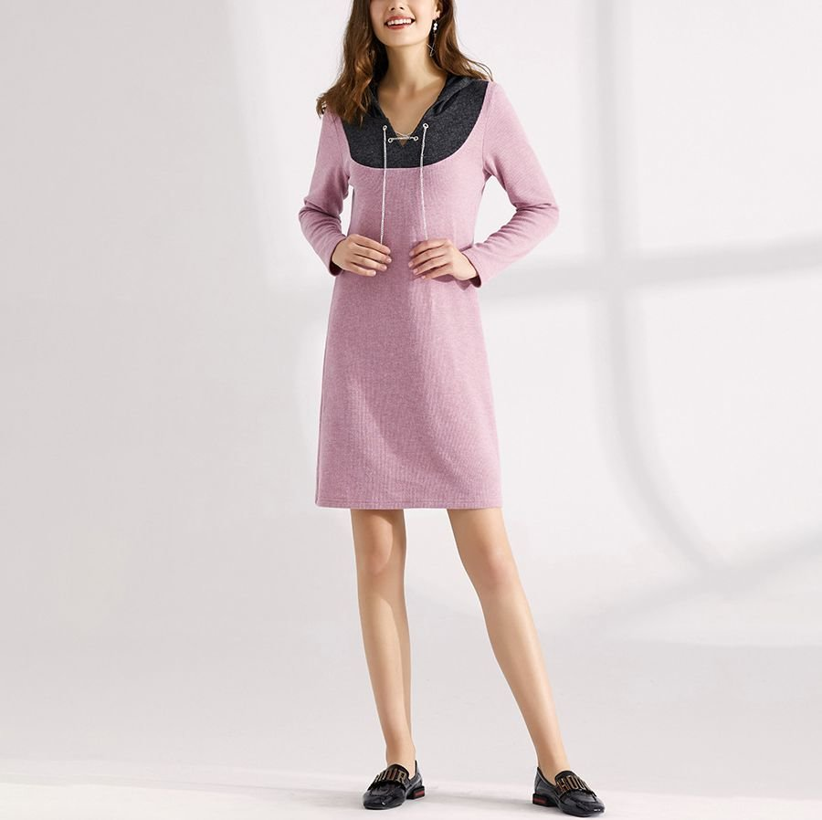 Hoodie Casual Dress with Chain and Eyelet Closure