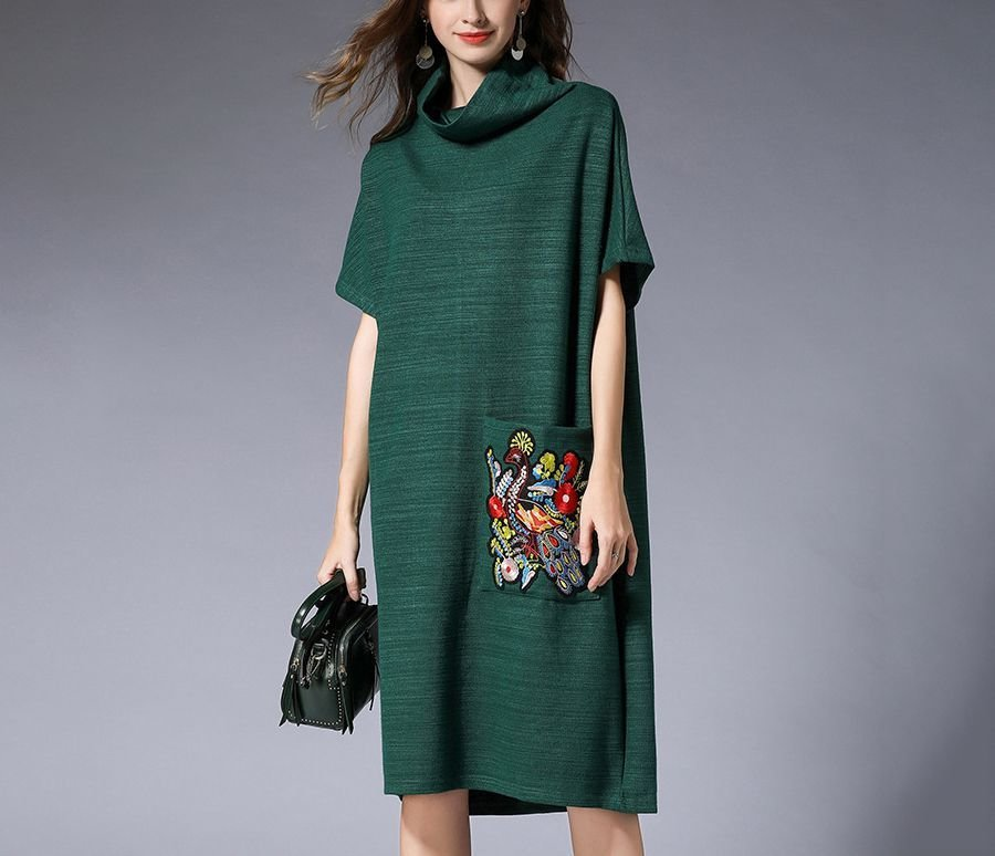 Loose Dress for Work with Large Embroidered Pocket