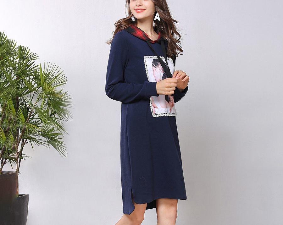 Casual Dress with Plaid Hood