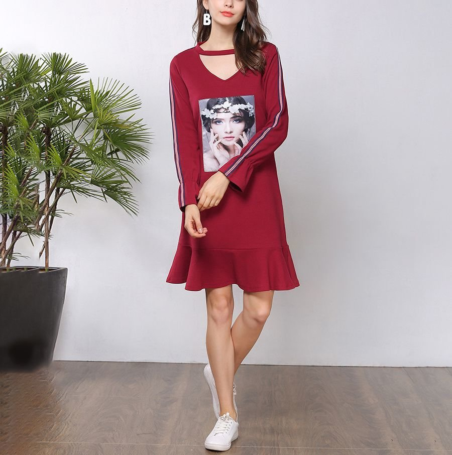Knit Casual Dress with Band Collar and Front V-Opening