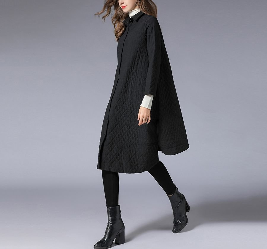 Quilted Coat with Snap Closure in Front