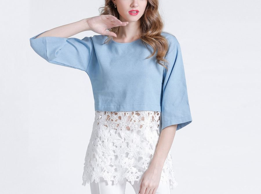 Casual Top with Lace Skirt