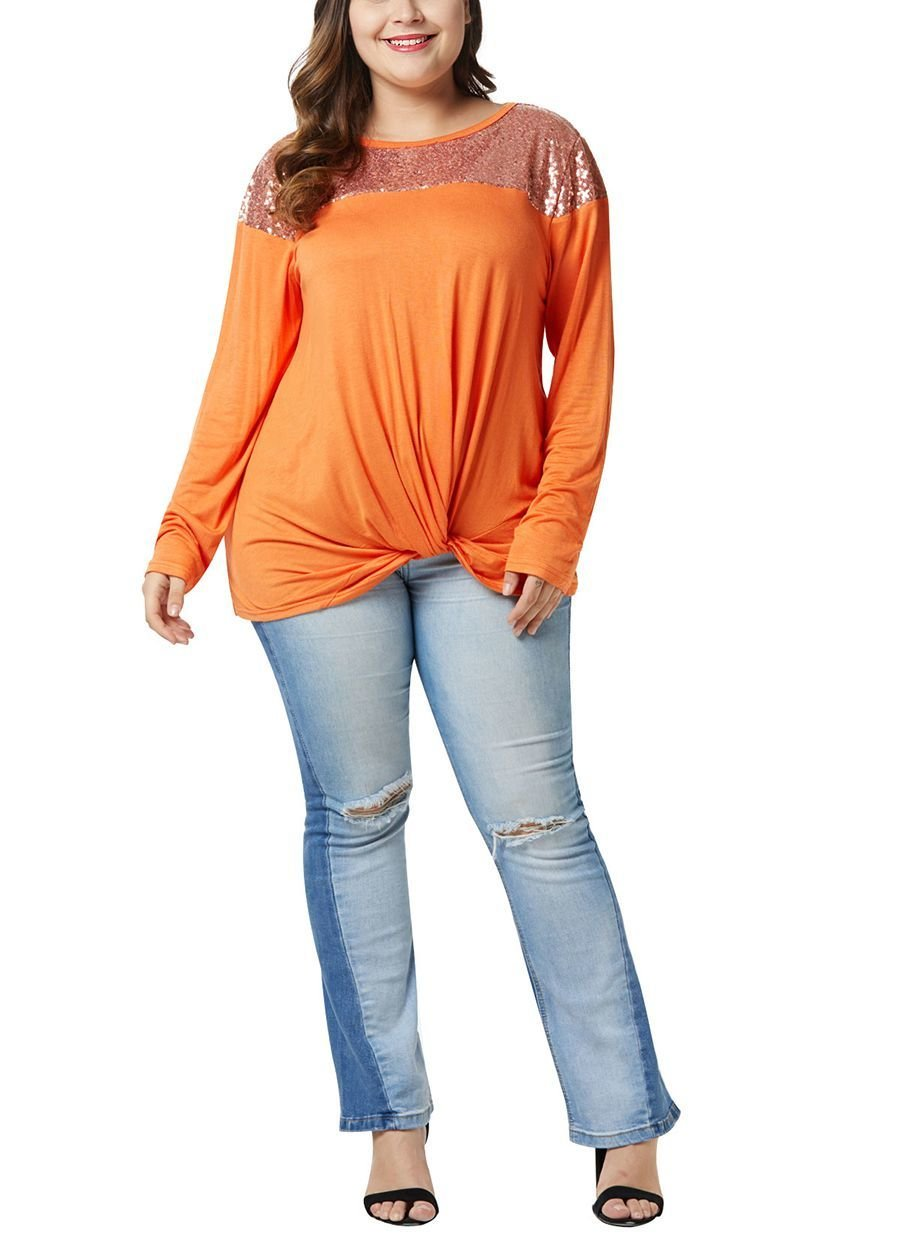 Plus Size Knit Top with Sparkly Yoke and Knotted Hem