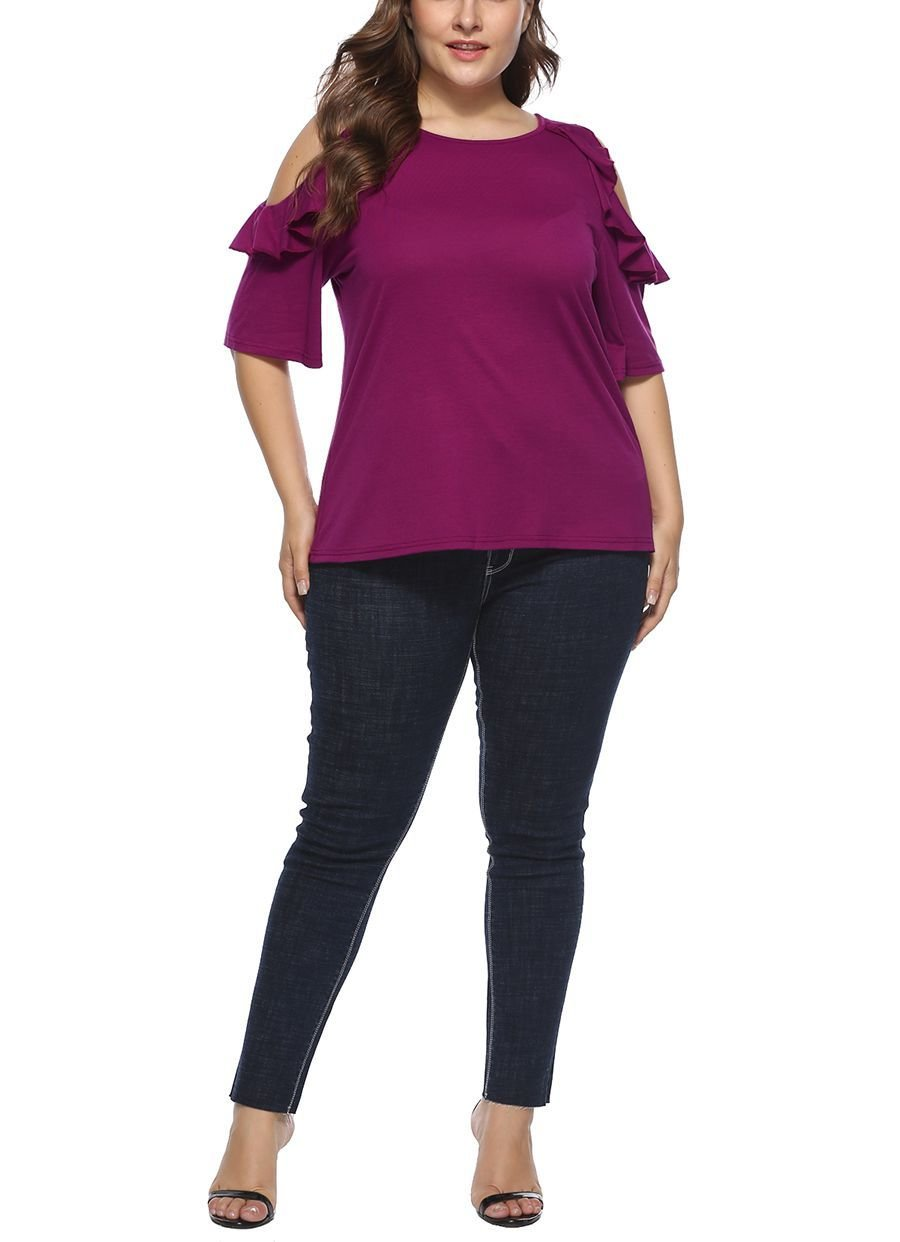 Cold Shoulder Knit Top with Elbow-Length Sleeves