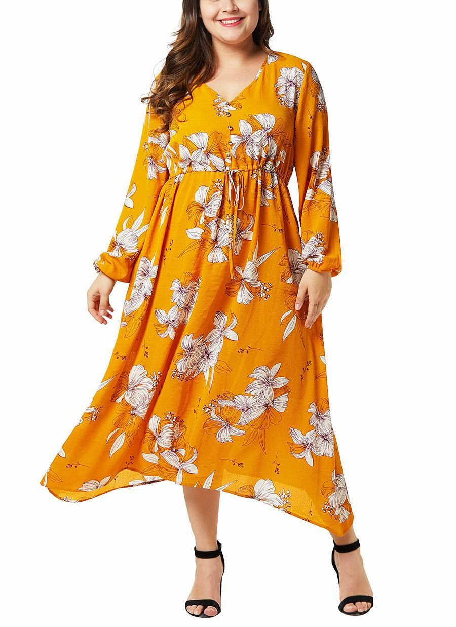 Floral Chiffon Dress with Semi-Formal Style