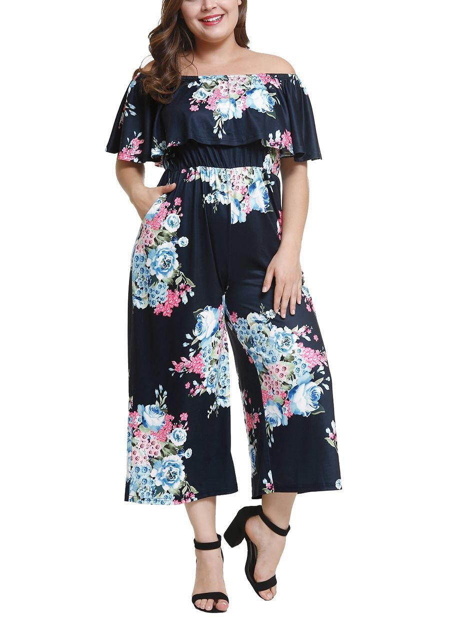 Floral Knit Jumpsuit with Deep Ruffle Neckline