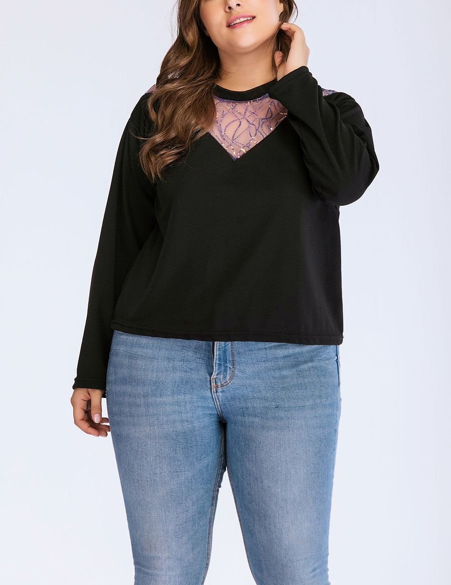 Plus Size Top with Sheer Front Yoke and Sequin Trim