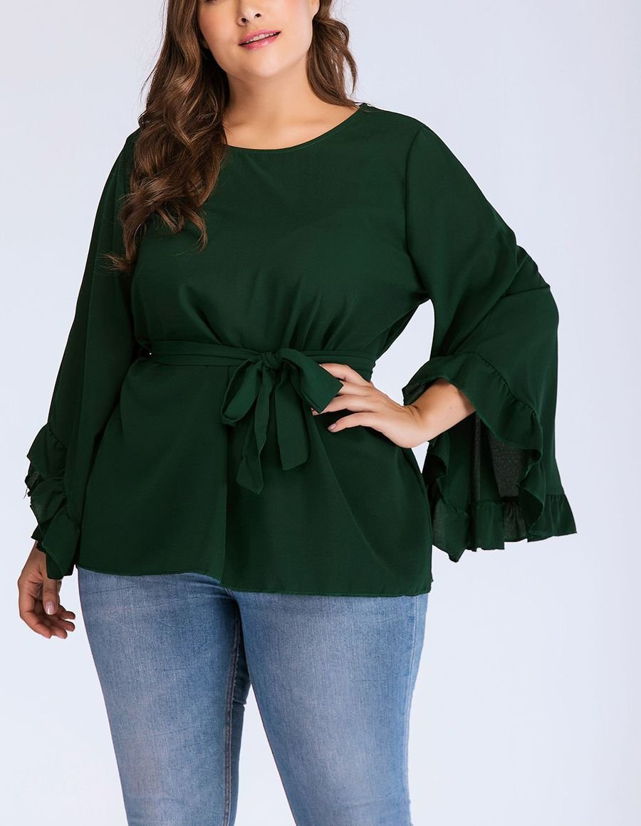Belted Top with Flared Long Sleeves