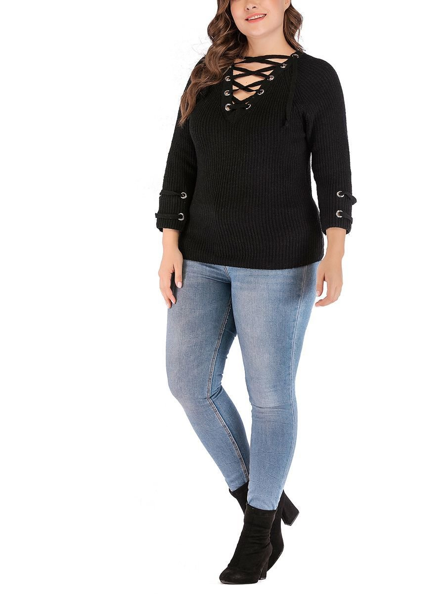 Ribbed Knit Top with Metal Eyelets