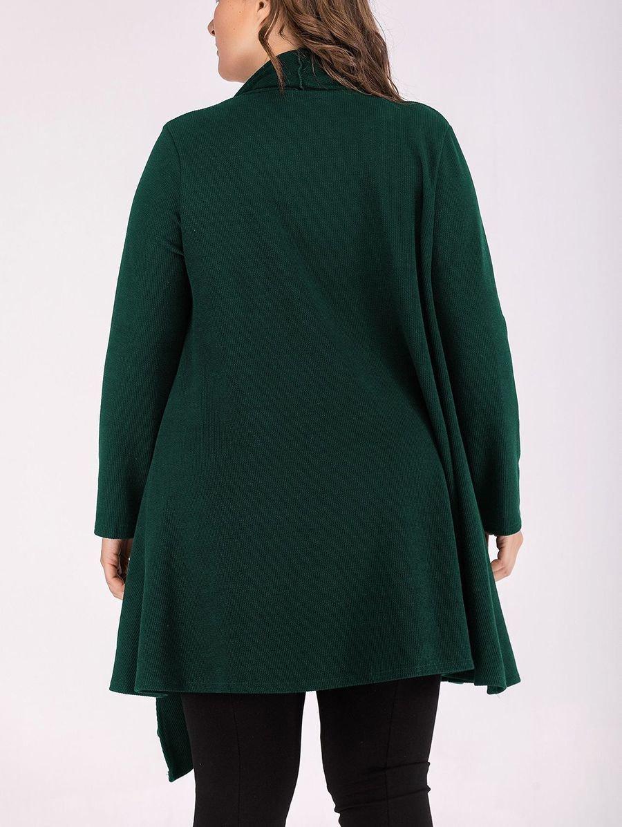Plus Size Long Knit Cardigan with Shawl Collar