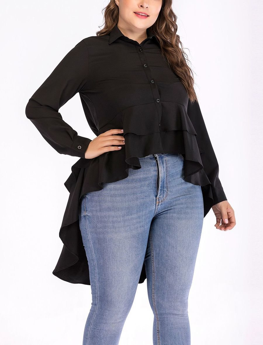 Cotton Blend Top with Ruffled Peplum