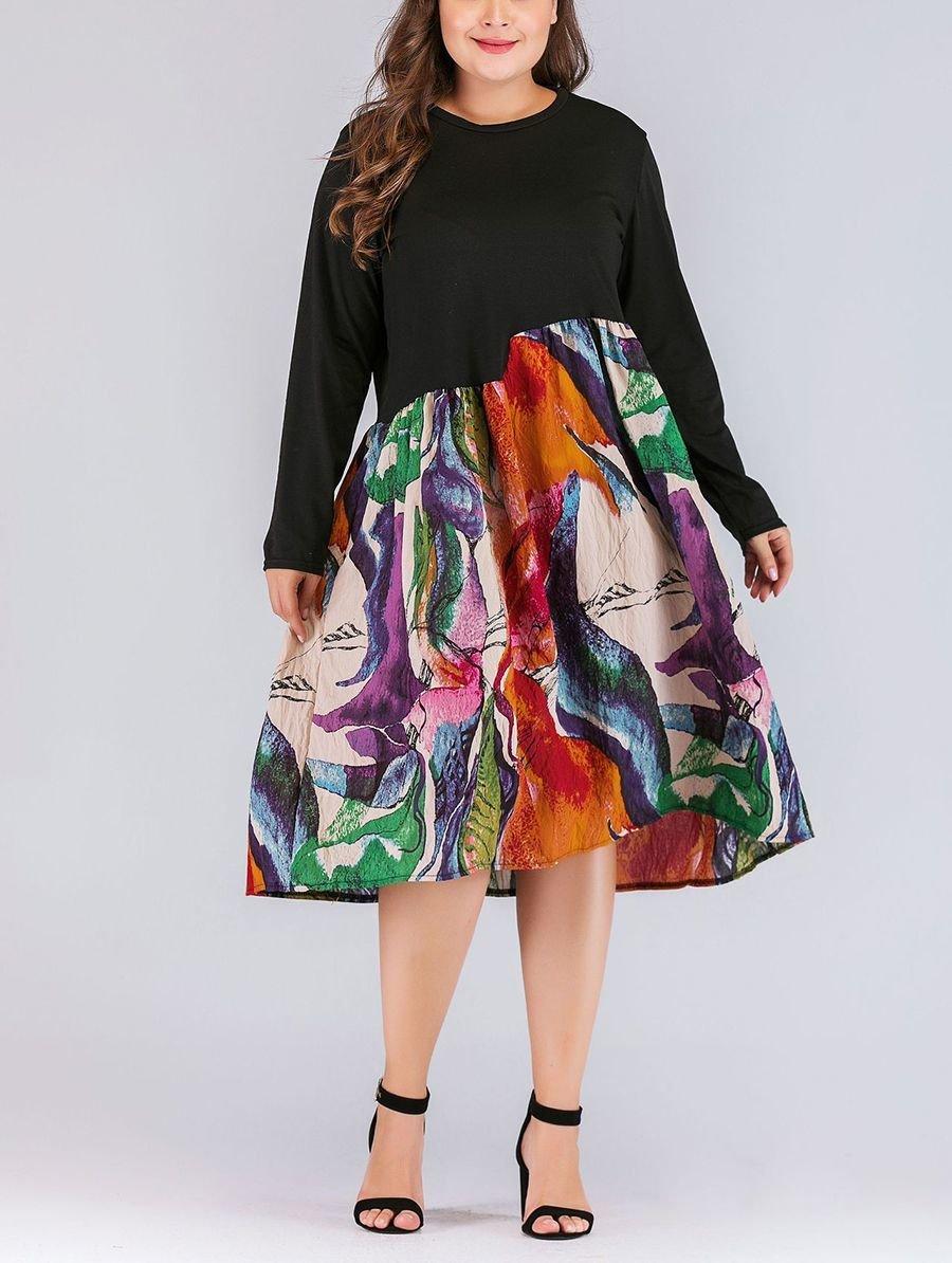 Casual Dress with Asymmetrical Waistline Seam