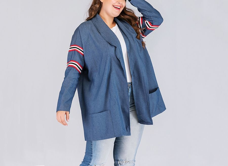 Plus Size Jacket with Patch Pockets and Striped Trim
