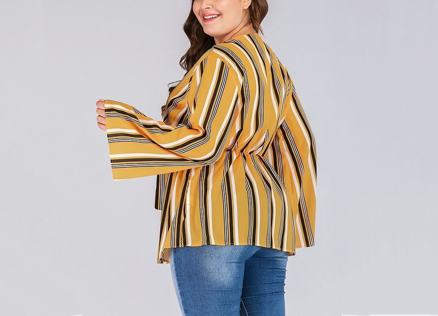 Striped Top with Elastic Waist