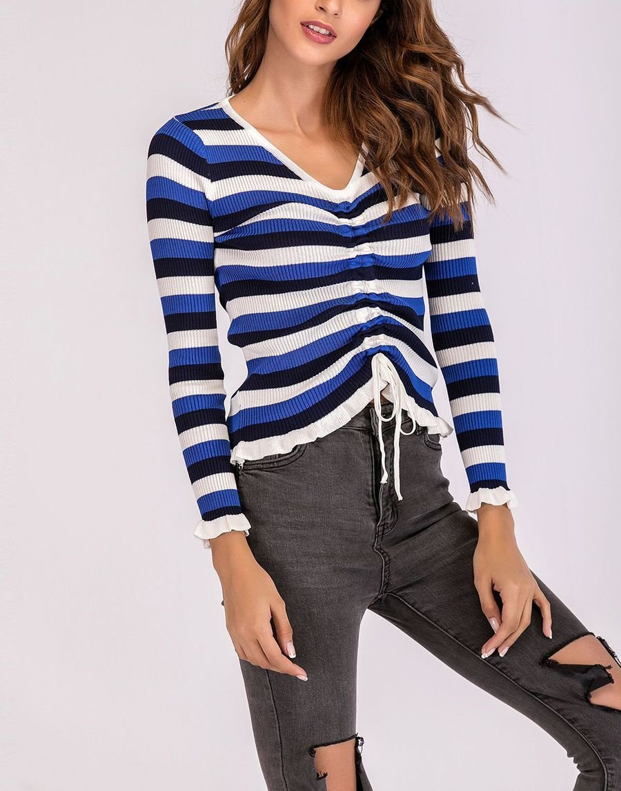 Striped Rib Knit Top with Front Drawstring