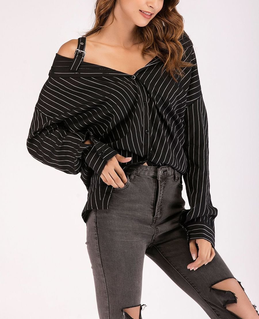 Off-Shoulder Top with Big Shirt Styling