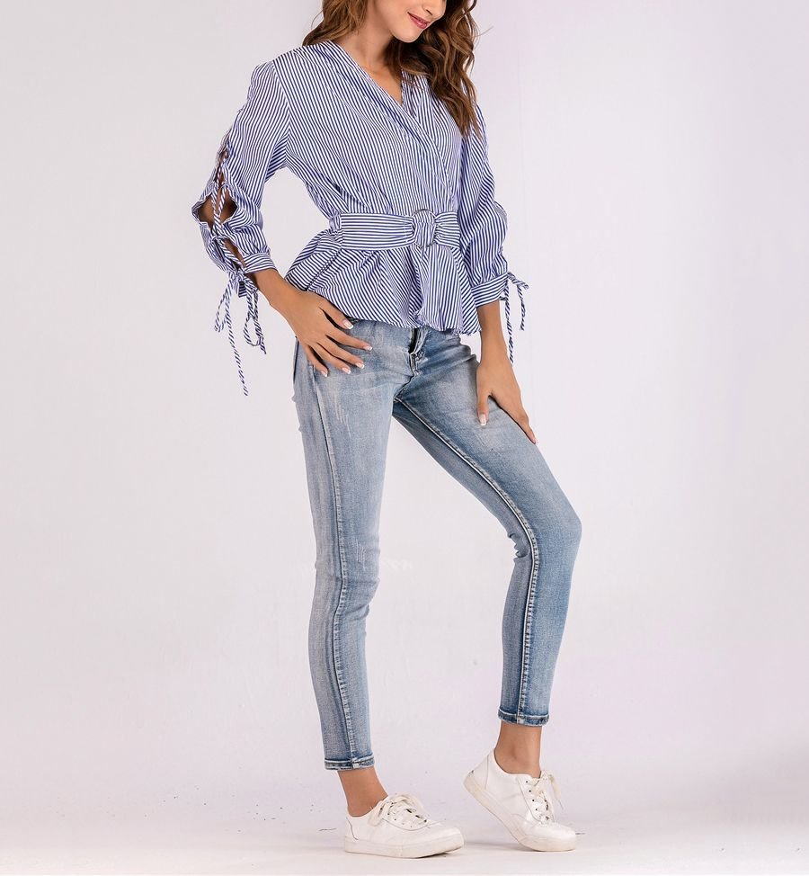 Cotton Blend Surplice Top with Laced Sleeves