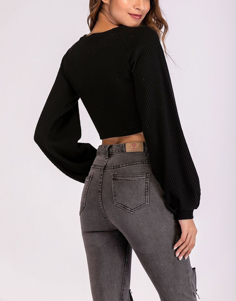 Cropped Top with Full, Gathered Sleeves