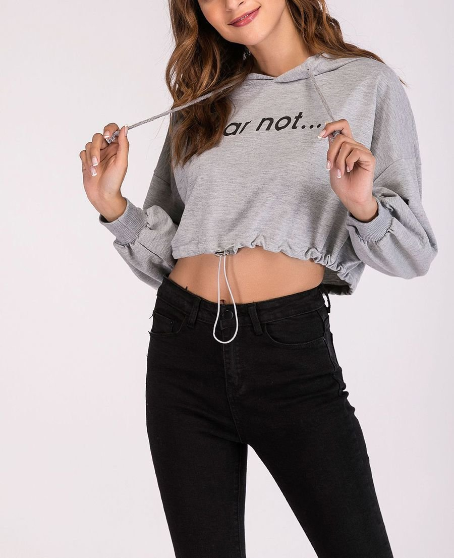 Cropped Hoodie Top with Drawstring Bottom