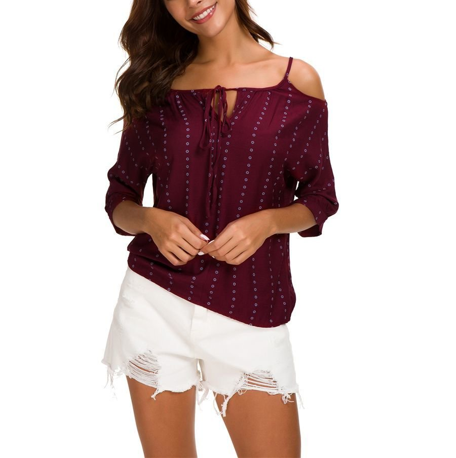 Casual Top with ¾ Sleeves and Cold Shoulders