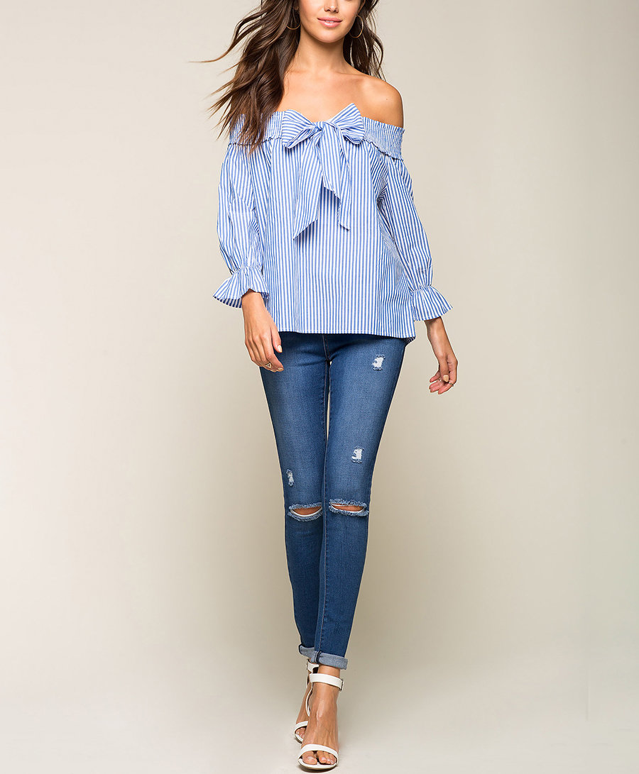 Off-Shoulder Top with Front Bow