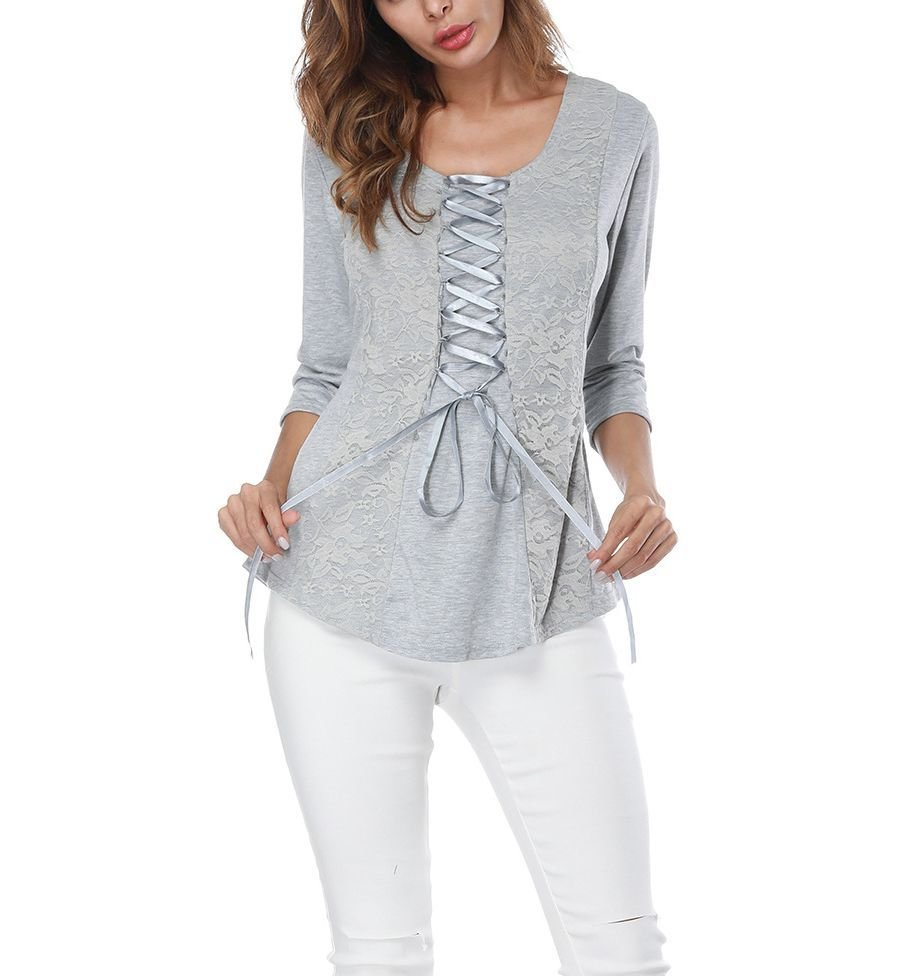 Knit Top with Lace and Ribbon Accents