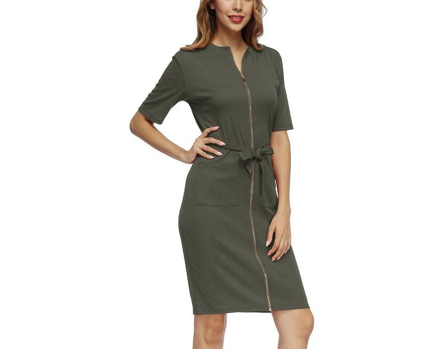 Knit Casual Dress with Front Zipper and Pockets
