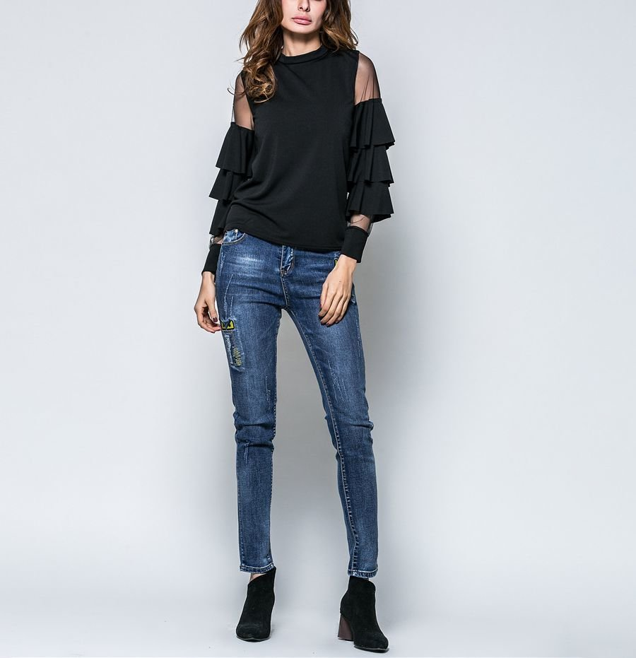 Knit Top with Ruffles and Sheer Shoulders
