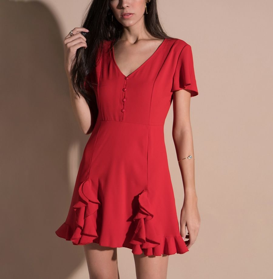 Tailored Cocktail Dress with Ruffled Hem