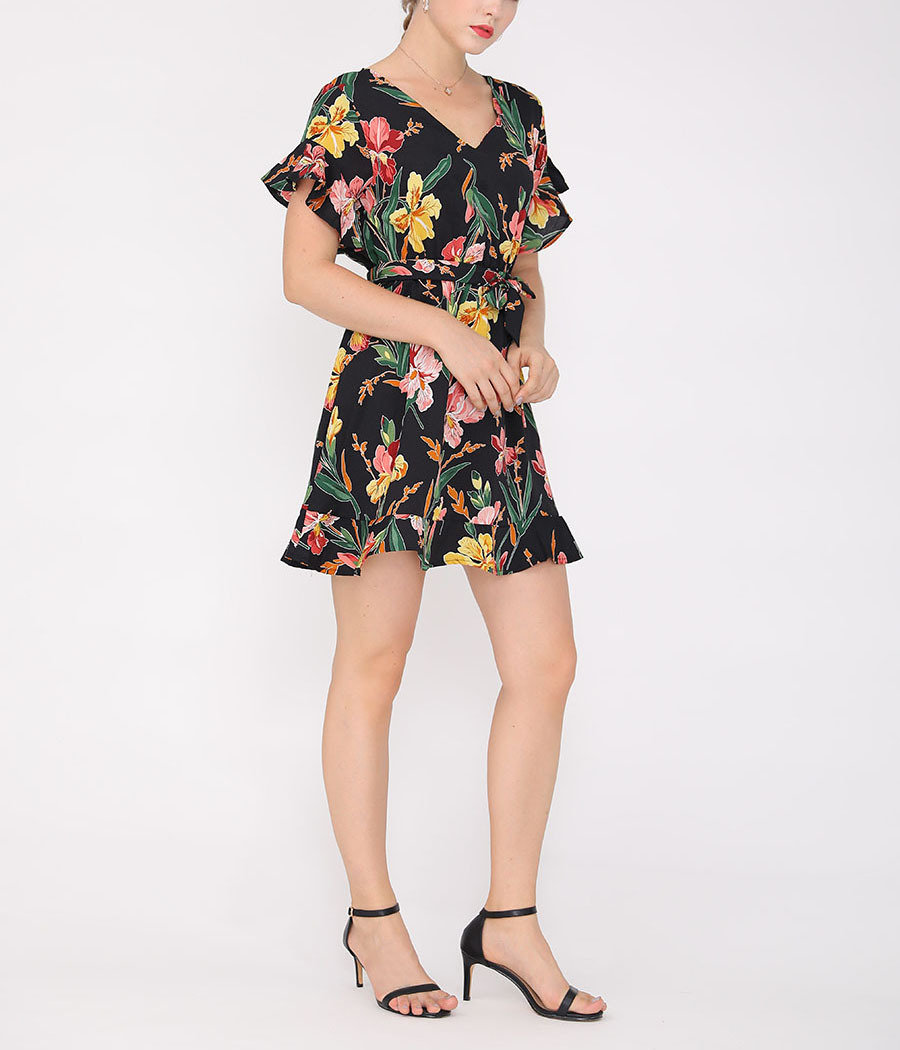 Ruffled Mini Cocktail Dress