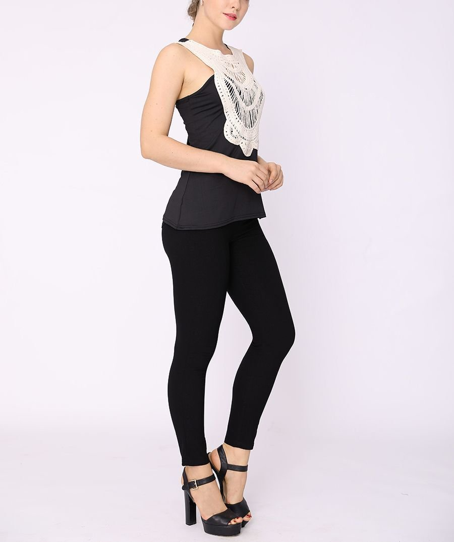 Sleeveless Top with Dramatic Lace Front