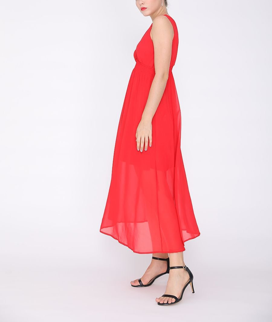 Chiffon Formal Dress with Elastic Smocking at Waist