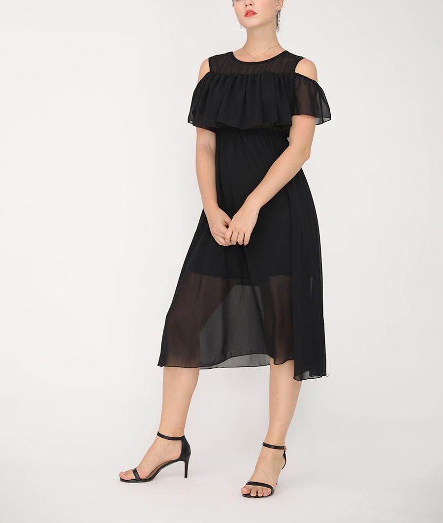 Cold Shoulder Chiffon Formal Dress