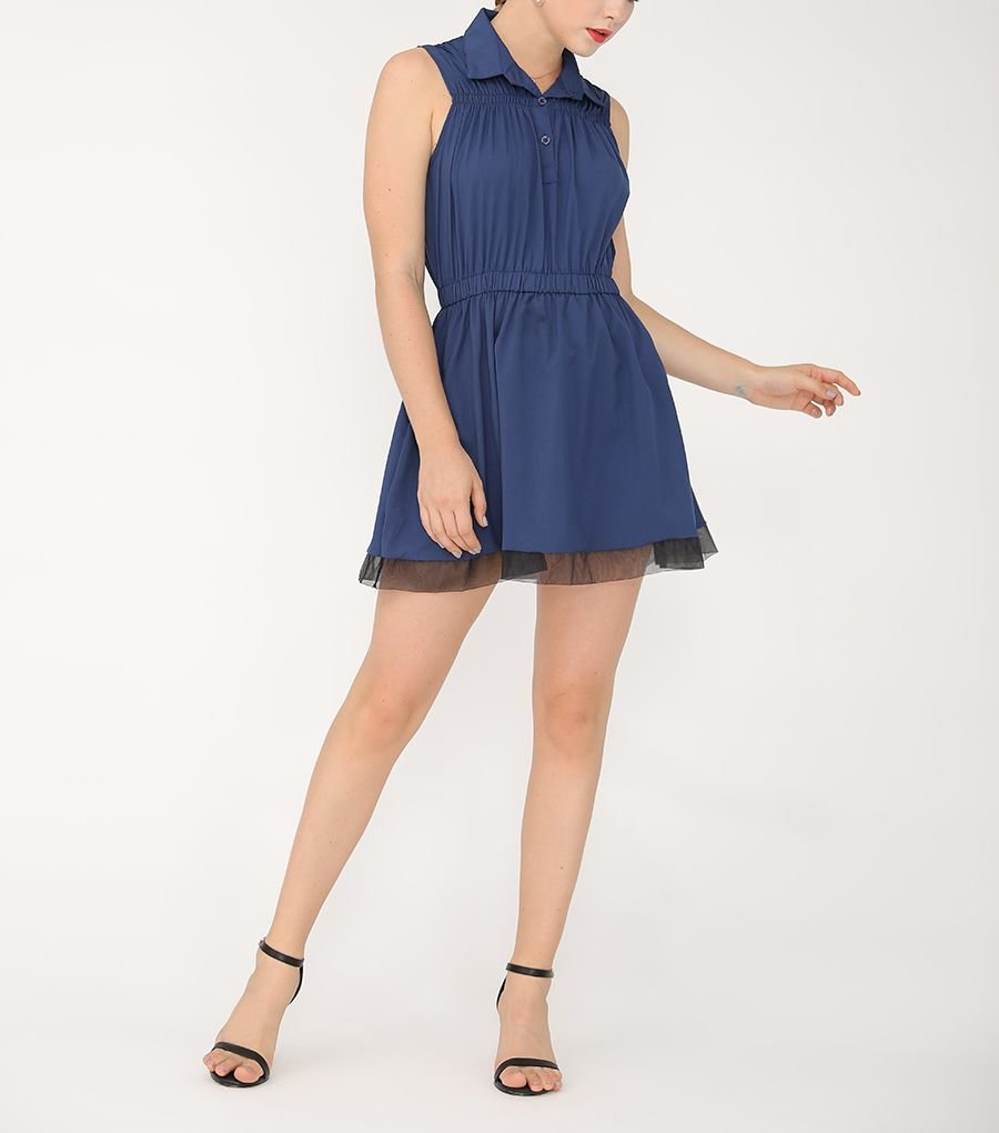 Mini Casual Dress with Gathered Details