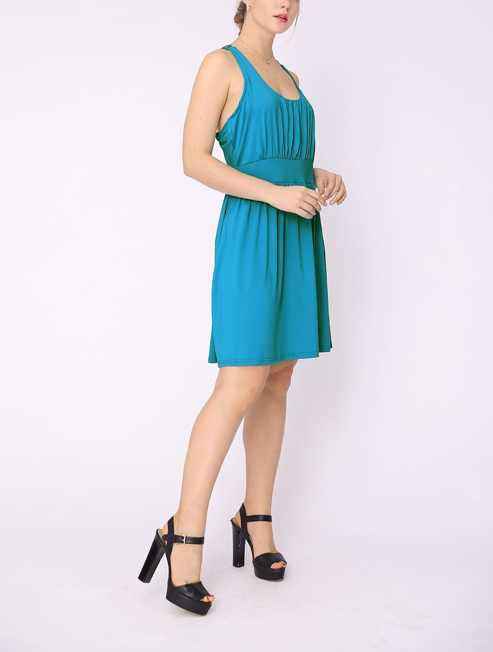Knit Casual Dress with Wide Waistband